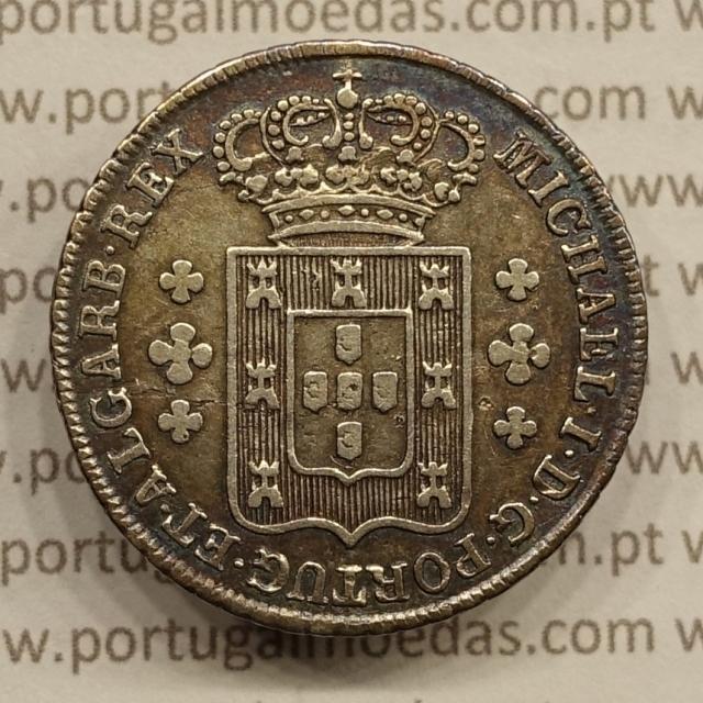 MOEDA 6 VINTÉNS PRATA 1828-1834 CRUZ IRRADIADA (MBC) - D. MIGUEL I