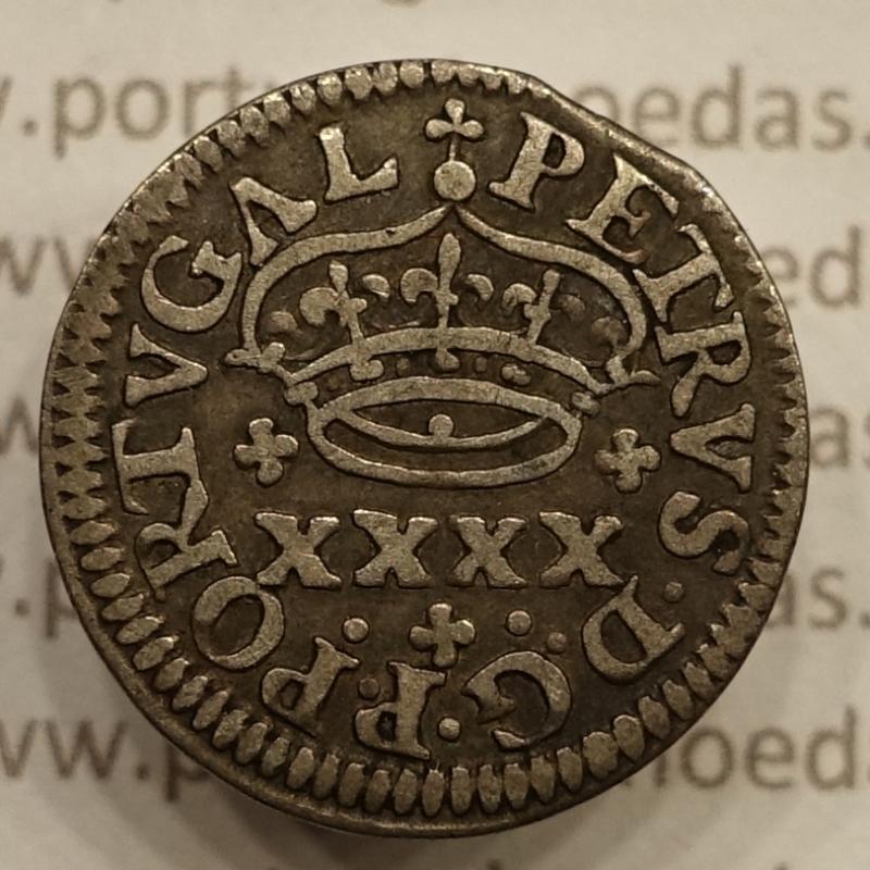"""MOEDA DE 2 VINTÉNS - PRATA 1667-1683 """" EIXO DESLOCADO A 90º - D. PEDRO PRÍNCIPE REGENTE"""