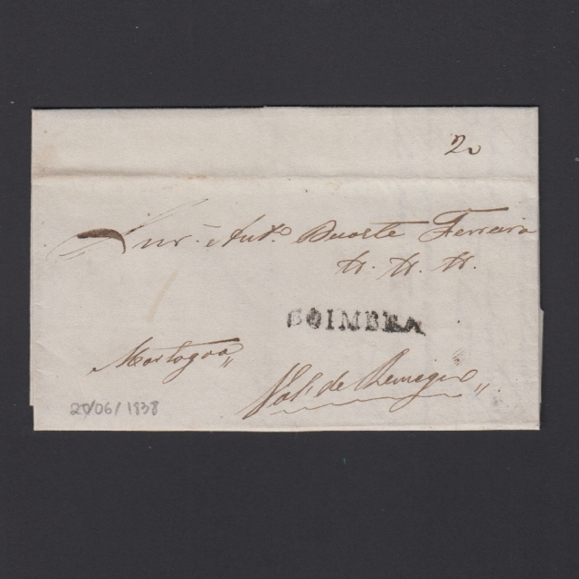 Pré-Filatélica circulada de Coimbra para Vale de Remigio datada de 20-06-1838