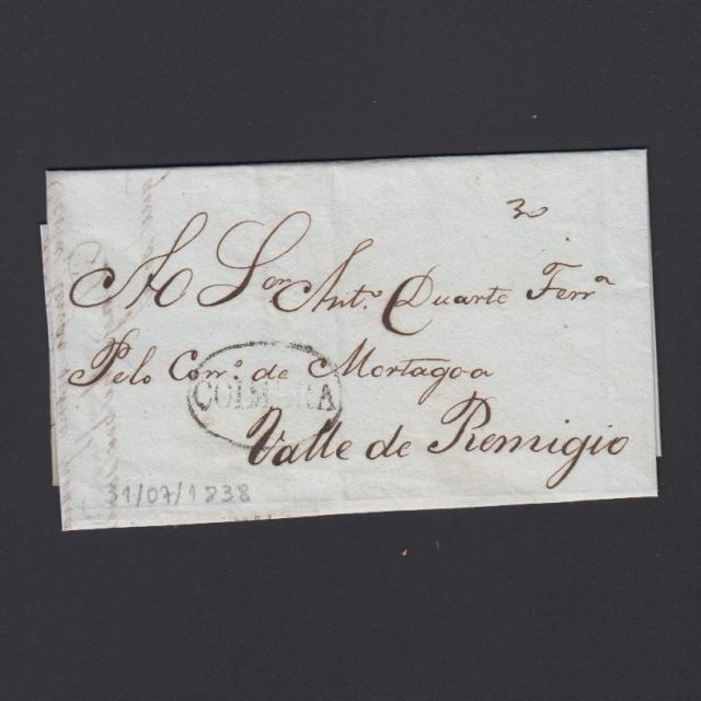 Pré-Filatélica circulada de Coimbra para Vale de Remigio datada de 31-07-1838