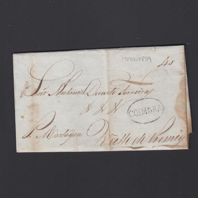 Pré-Filatélica circulada de Coimbra para Vale de Remigio datada de 10-03-1839