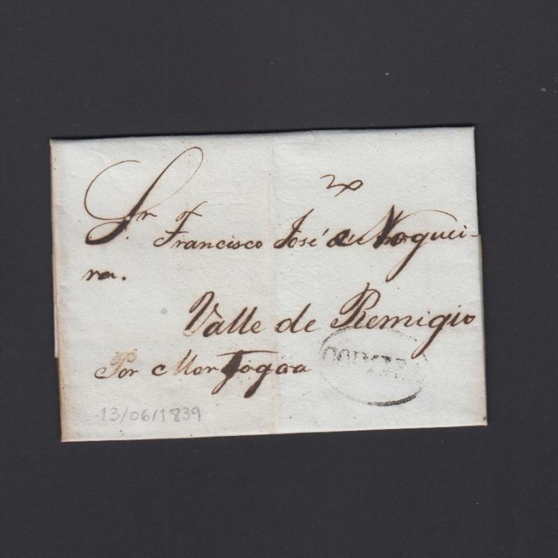 Pré-Filatélica circulada de Coimbra para Vale de Remigio datada de 13-06-1839