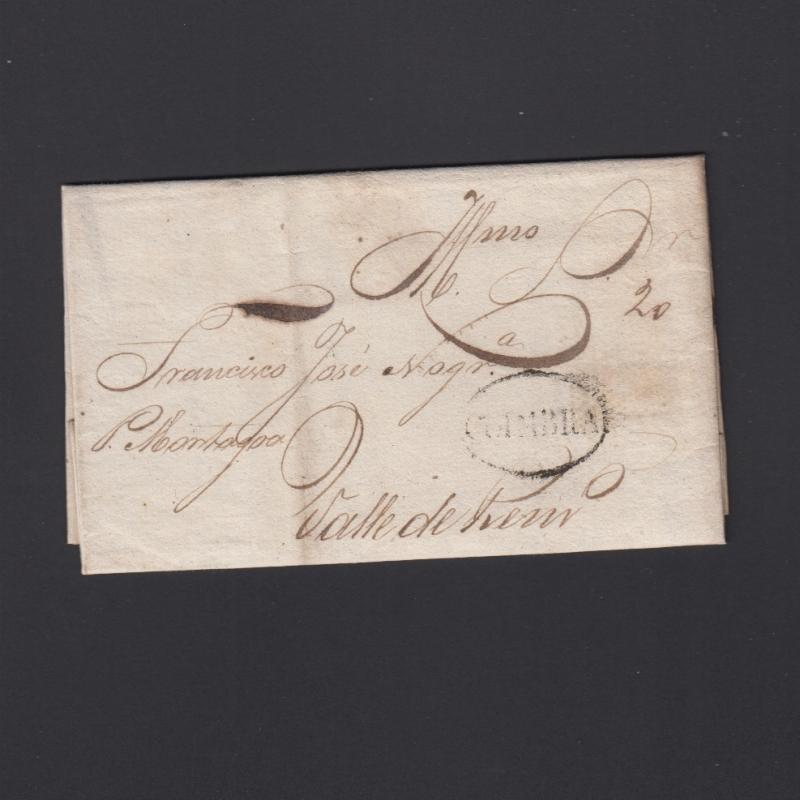 Pré-Filatélica circulada de Coimbra para Vale de Remigio datada de 10-04-1840