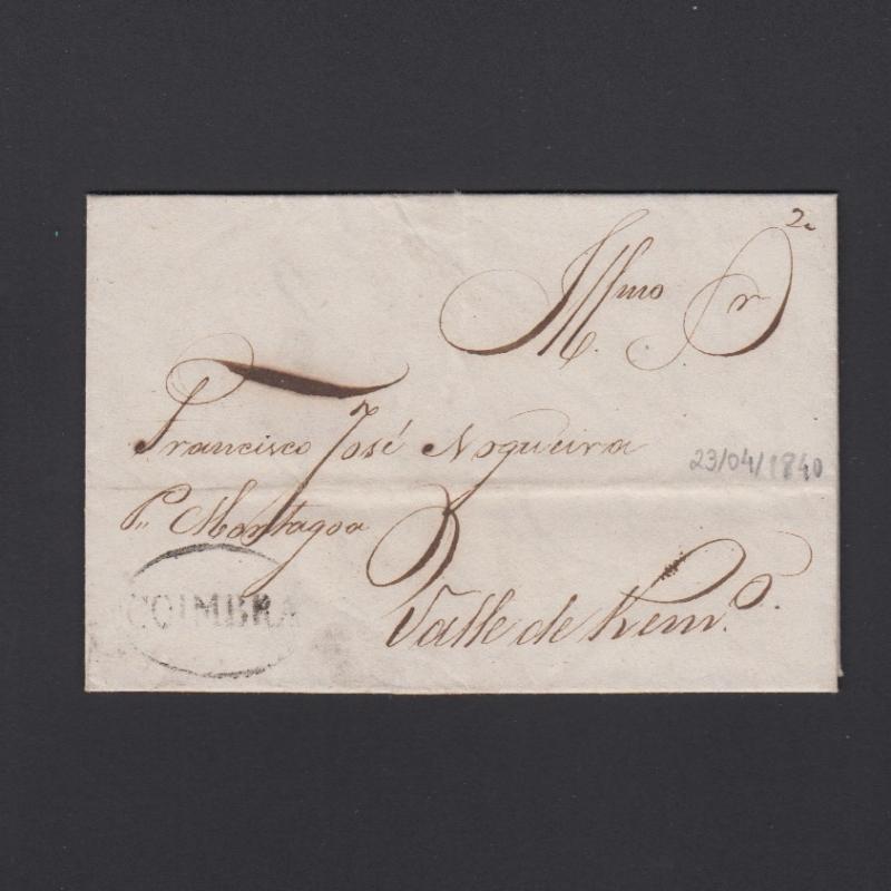 Pré-Filatélica circulada de Coimbra para Vale de Remigio datada de 23-04-1840