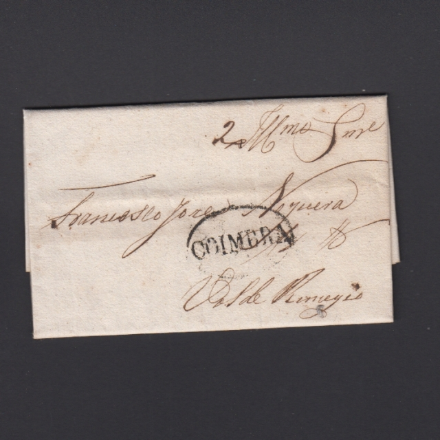 Pré-Filatélica circulada de Coimbra para Vale de Remigio datada de 07-11-1840