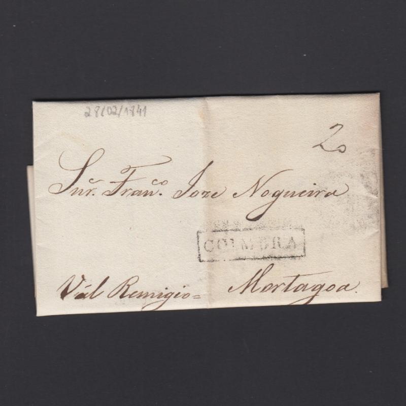 Pré-Filatélica circulada de Coimbra para Vale de Remigio datada de 28-02-1841