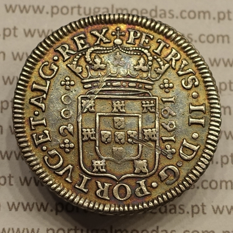 MOEDA DE 12 VINTÉNS PRATA 1691 (MBC+) D. PEDRO II