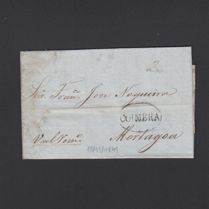 Pré-Filatélica circulada de Coimbra para Vale de Remigio datada de 18-04-1841