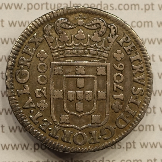 MOEDA DE 12 VINTÉNS PRATA 1706 (MBC+) D. PEDRO II