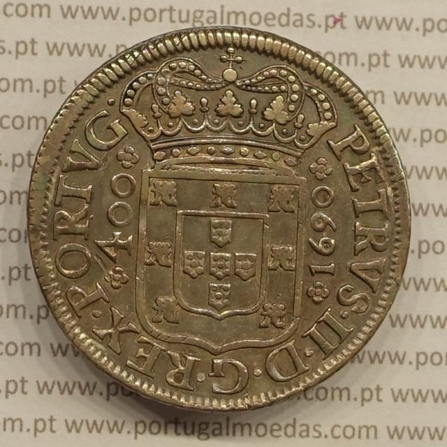 MOEDA DE UM CRUZADO NOVO (480 RÉIS) PRATA 1690