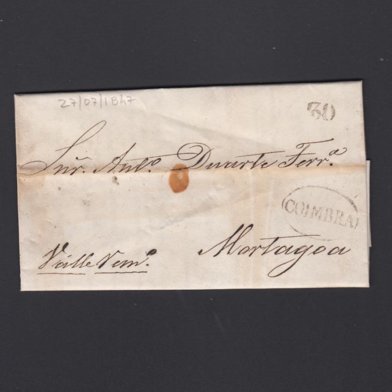 Pré-Filatélica circulada de Coimbra para Vale de Remigio datada de 27-07-1847