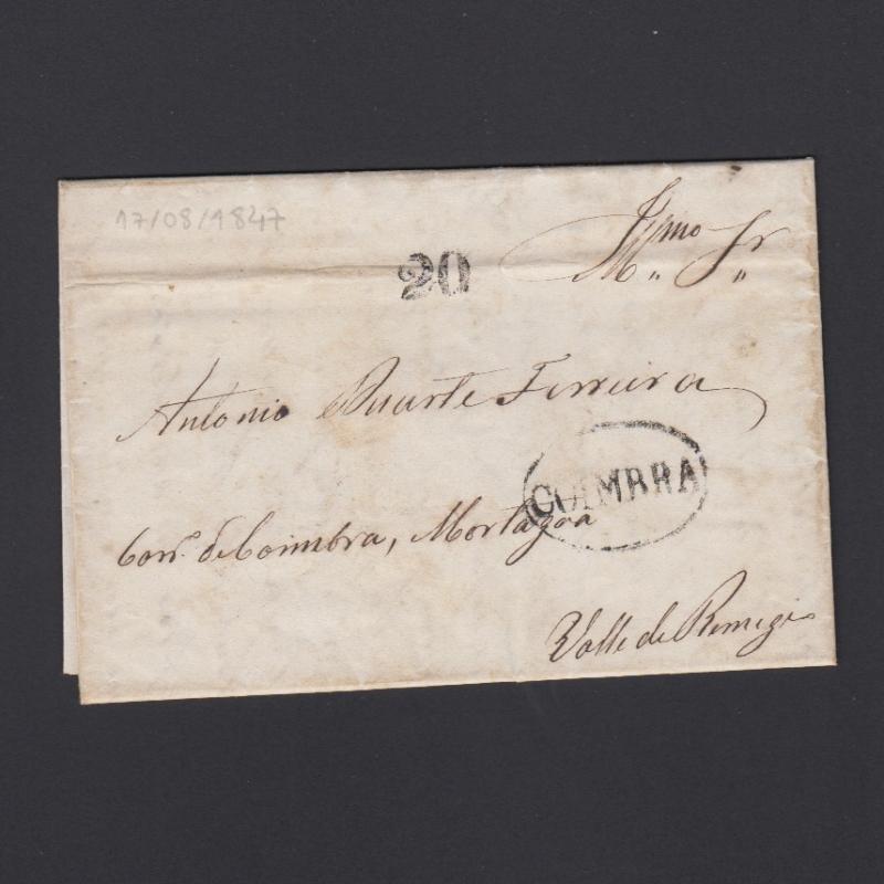 Pré-Filatélica circulada de Coimbra para Vale de Remigio datada de 17-08-1847