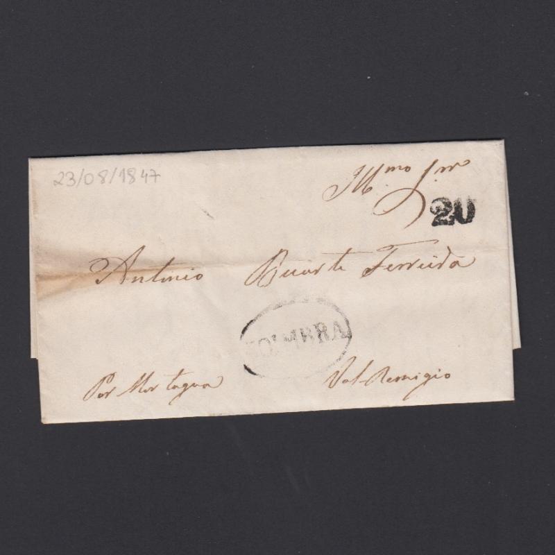 Pré-Filatélica circulada de Coimbra para Vale de Remigio datada de 23-08-1847