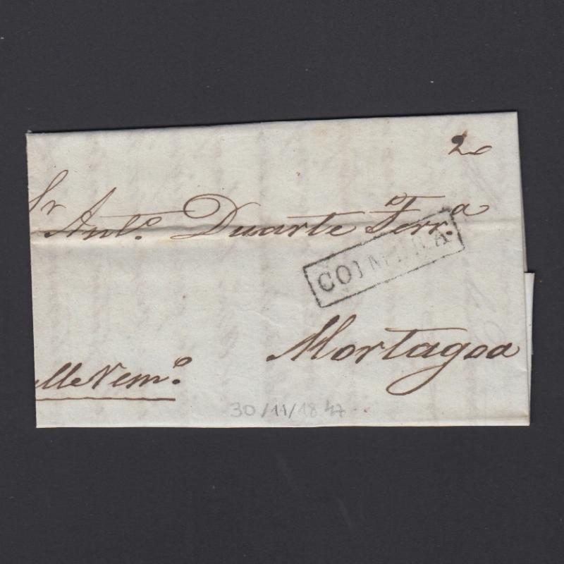 Pré-Filatélica circulada de Coimbra para Vale de Remigio datada de 30-11-1847