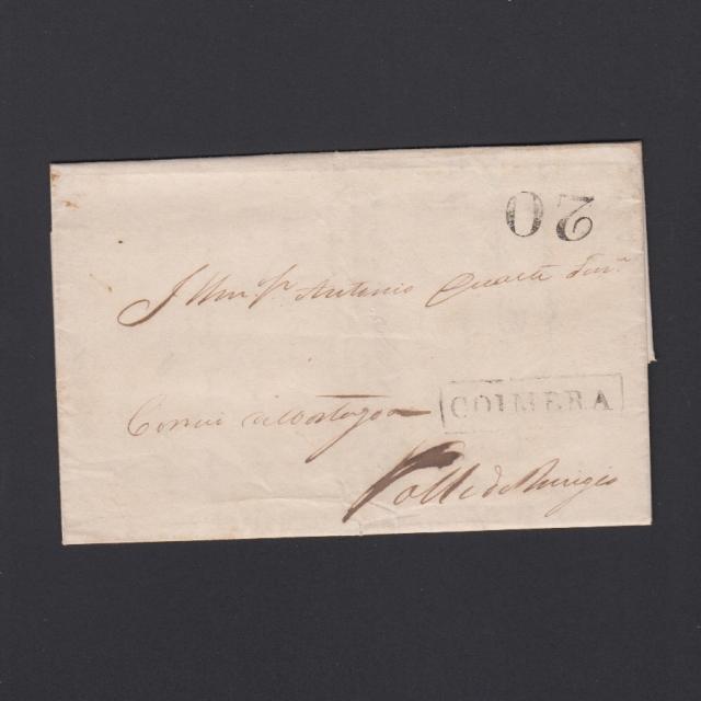 Pré-Filatélica circulada de Coimbra para Vale de Remigio datada de 28-02-1848