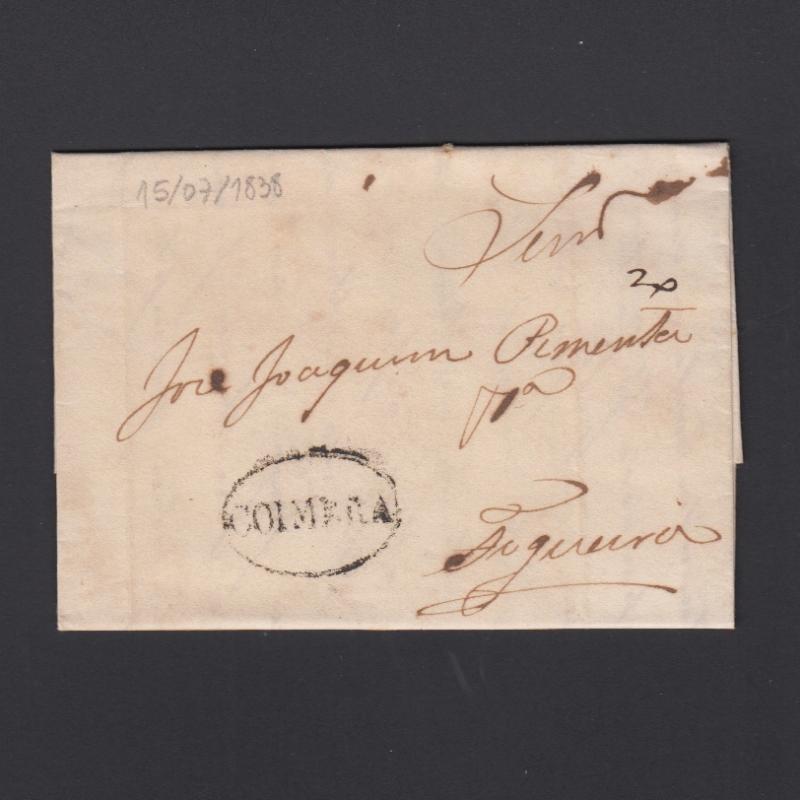 Pré-Filatélica circulada de Coimbra para Aguieira datada de 15-07-1838