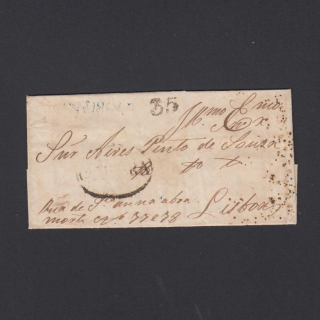 Pré-Filatélica circulada de Soure - Coimbra para de Lisboa datada de 22-01-1847