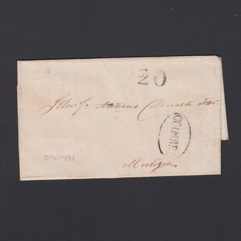 Pré-Filatélica circulada de Figueira da Foz para Mortágua datada de 05-06-1847