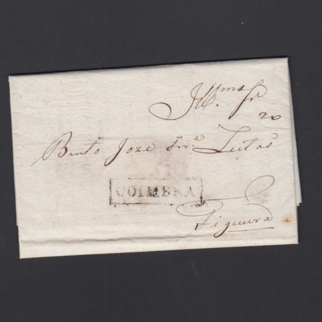 Pré-Filatélica circulada de Coimbra para Figueira da Foz datada de ??-04-1838