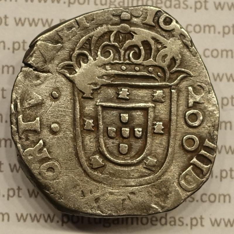 """MEIO CRUZADO - PRATA 1640-1656 (MBC) LISBOA """" ...REX PORTVGALIE / ...+ IN HO..... - D. JOÃO IV"""""""