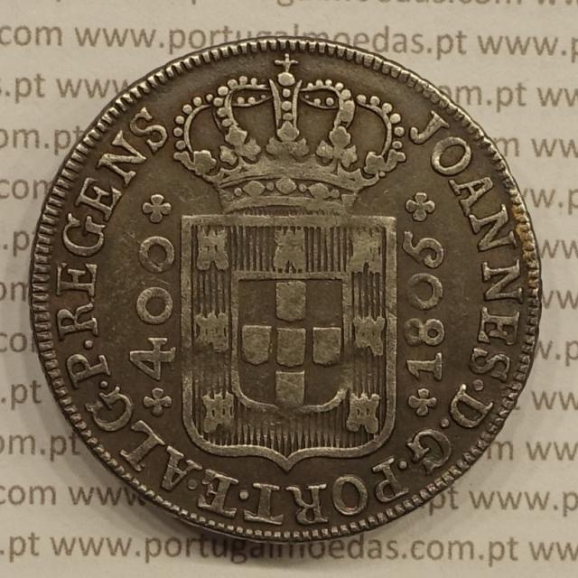 CRUZADO NOVO PRATA (480 RÉIS) 1805 COROA BAIXA DIADEMA LOZANGO 1 PONTOS - D. JOÃO PRÍNCIPE REGENTE- RARA