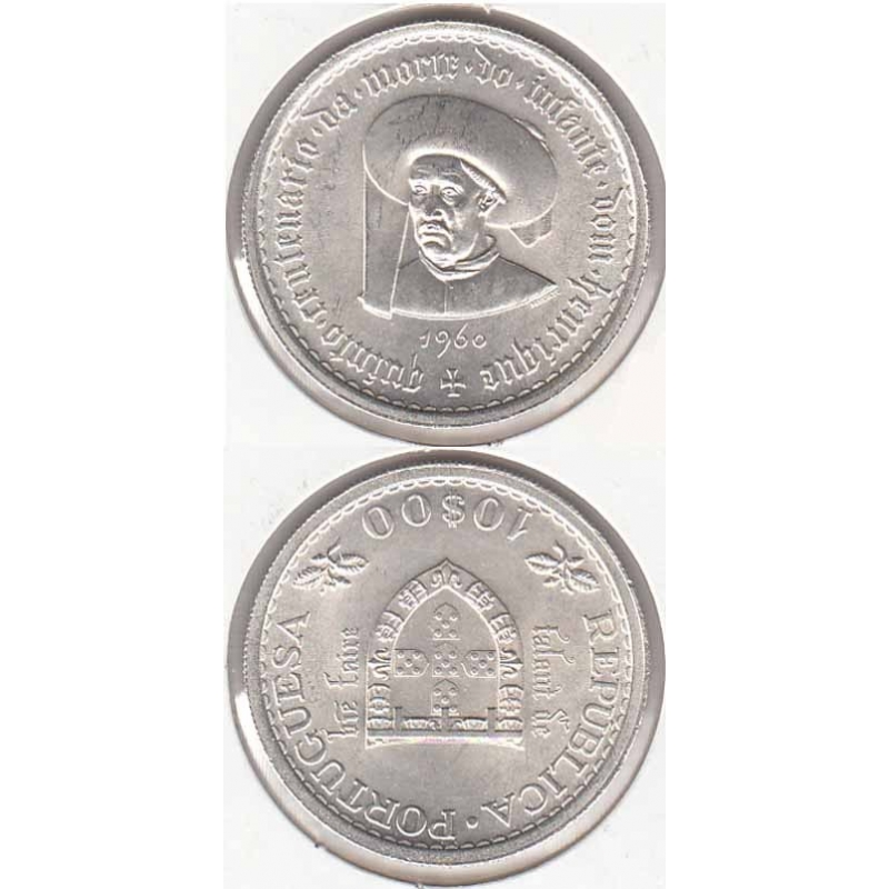 10$00 prata 1960 Infante D. Henrique, moeda 10 escudos comemorativa do Quinto Centenário da Morte do Infante Dom Henrique