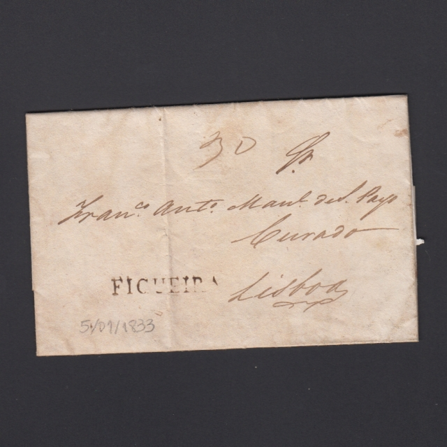 Carta Pré-Filatélica circulada de Figueira da Foz para Lisboa datada de 05-01-1833