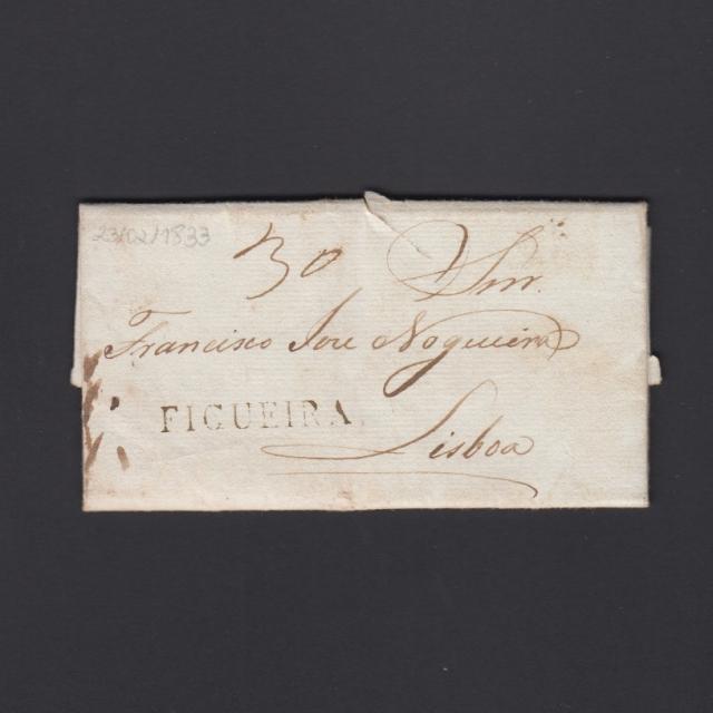Carta Pré-Filatélica circulada de Figueira da Foz para Lisboa datada de 23-02-1833