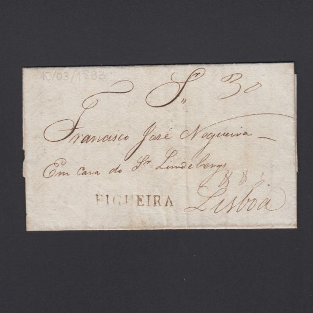 Carta Pré-Filatélica circulada de Figueira da Foz para Lisboa datada de 10-03-1833