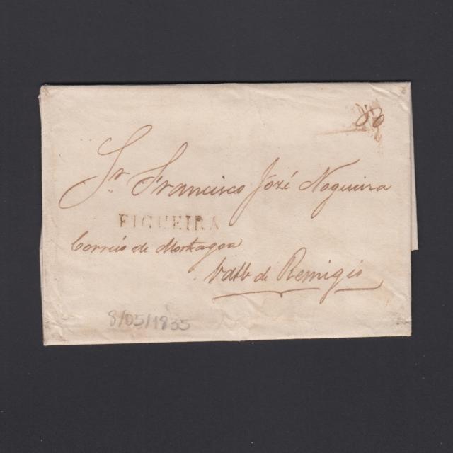 Carta Pré-Filatélica circulada de Figueira da Foz para Vale Remigio datada de 08-05-1835