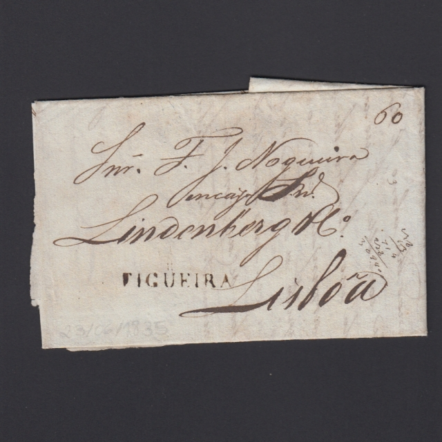 Carta Pré-Filatélica circulada de Figueira da Foz para Lisboa datada de 23-05-1835