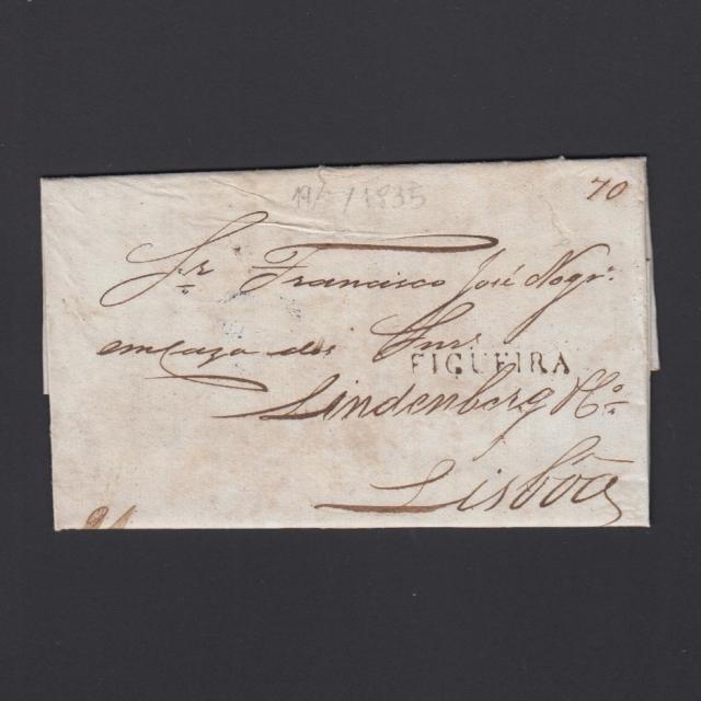 Carta Pré-Filatélica circulada de Figueira da Foz para Lisboa datada de 19-06-1835