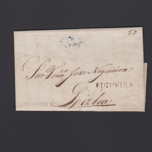 Carta Pré-Filatélica circulada de Figueira da Foz para Lisboa datada de 20-06-1835