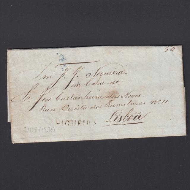 Carta Pré-Filatélica circulada de Figueira da Foz para Lisboa datada de 02-08-1835