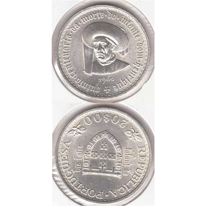 20$00 prata 1960 Infante D. Henrique, moeda 20 Escudos comemorativa do Quinto Centenário da Morte do Infante Dom Henrique
