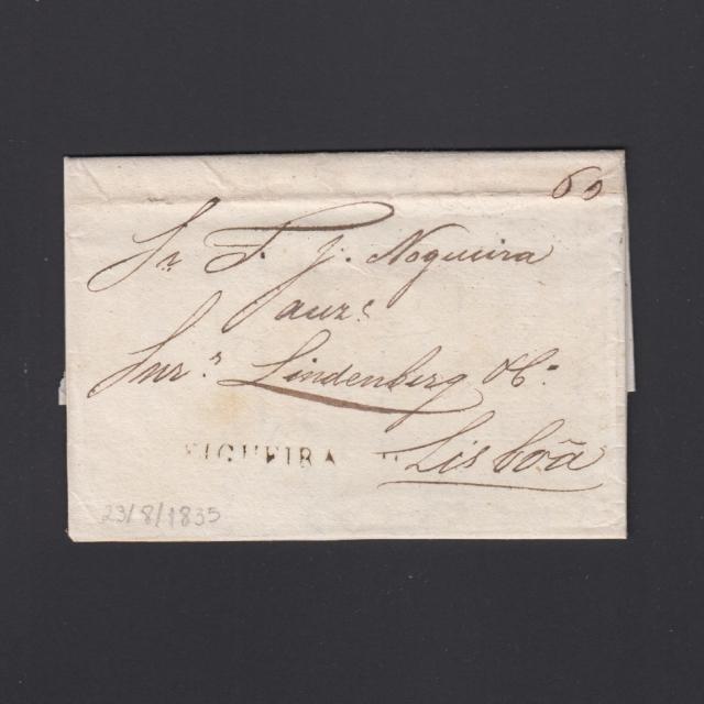 Carta Pré-Filatélica circulada de Figueira da Foz para Lisboa datada de 23-08-1835