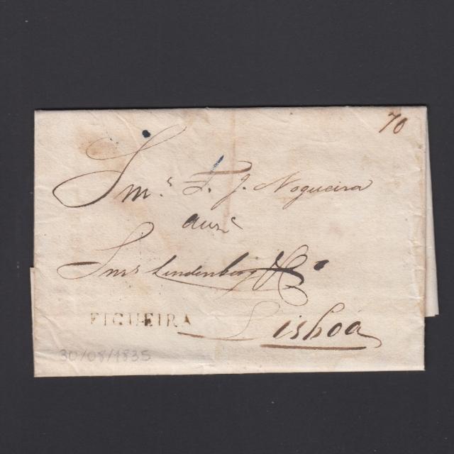 Carta Pré-Filatélica circulada de Figueira da Foz para Lisboa datada de 30-08-1835