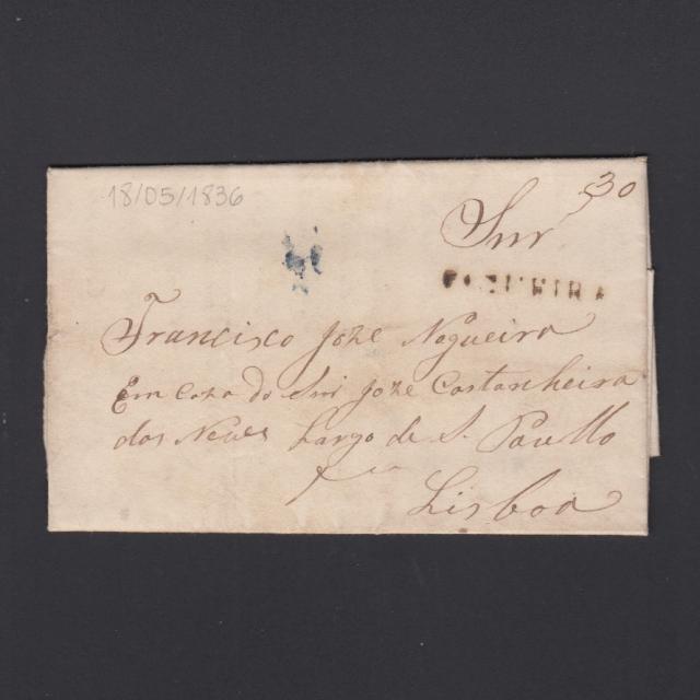 Carta Pré-Filatélica circulada de Figueira da Foz para Lisboa datada de 18-05-1836