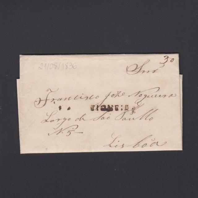 Carta Pré-Filatélica circulada de Figueira da Foz para Lisboa datada de 21-08-1836