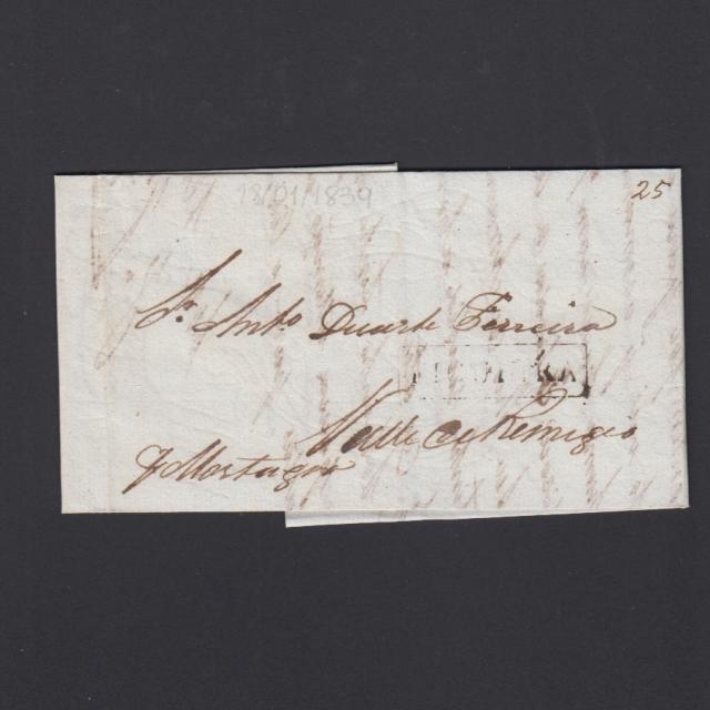 Carta Pré-Filatélica circulada de Figueira da Foz para Vale Remigio datada de 18-01-1839