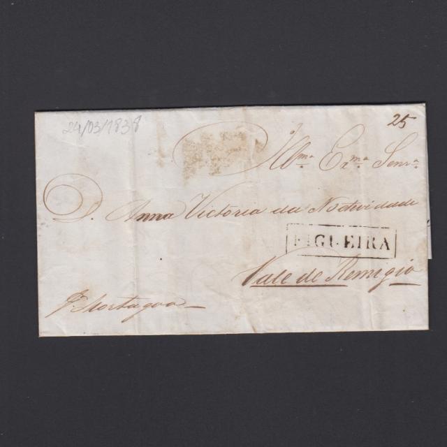 Carta Pré-Filatélica circulada de Figueira da Foz para Vale Remigio datada de 24-03-1838