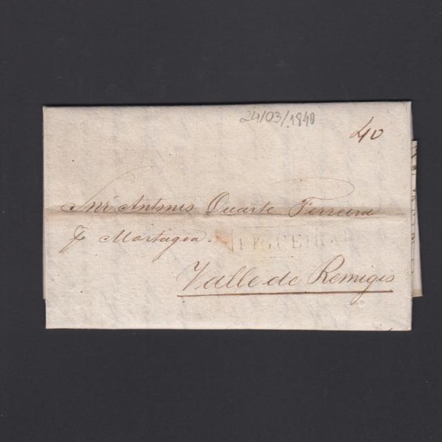 Carta Pré-Filatélica circulada de Figueira da Foz para Vale Remigio datada de 24-03-1840