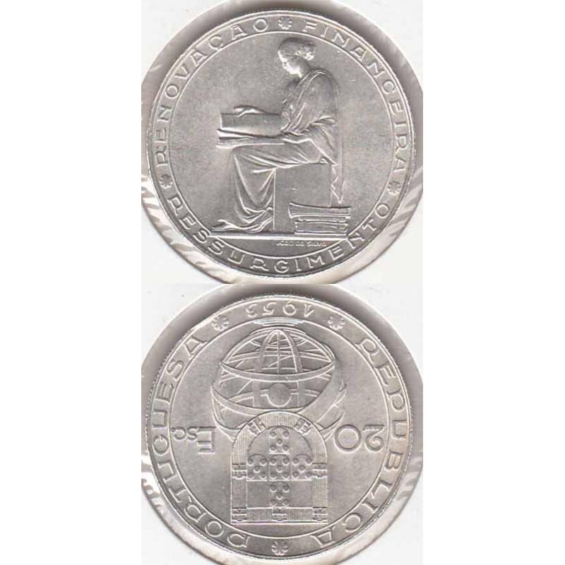 20 Escudos prata 1953 Renovação Financeira (moeda 20$00 Renovação Financeira)