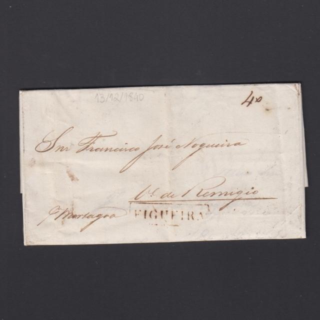 Carta Pré-Filatélica circulada de Figueira da Foz para Vale Remigio datada de 13-12-1840