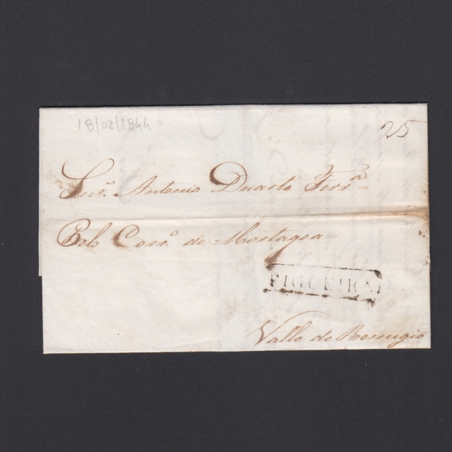 Carta Pré-Filatélica circulada de Figueira da Foz para Vale Remigio datada de 18-02-1844