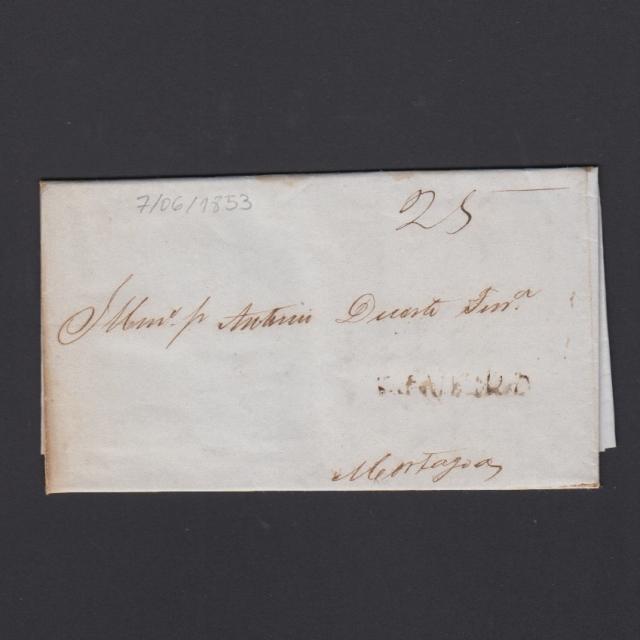 Carta Pré-Filatélica circulada de Figueira da Foz para Mortágua datada de 07-06-1853