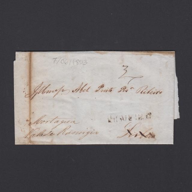 Carta Pré-Filatélica circulada de Figueira da Foz para Vale Remigio datada de 07-06-1853