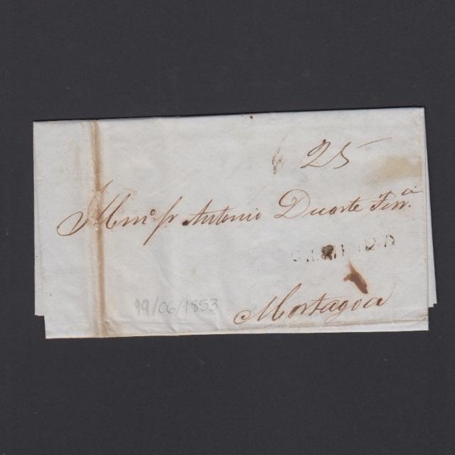 Carta Pré-Filatélica circulada de Figueira da Foz para Mortágua datada de 19-06-1853