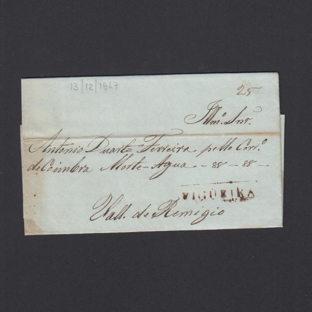 Carta Pré-Filatélica circulada de Figueira da Foz para Vale Remigio datada de 13-12-1847