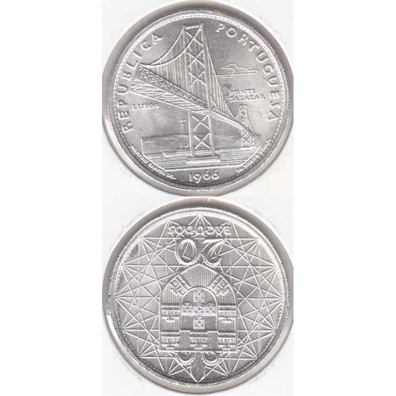20 Escudos prata 1966 Ponte Salazar (moeda 20$00 Ponte Salazar)